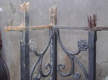 Ornamental Wrought Iron Post Before Repair